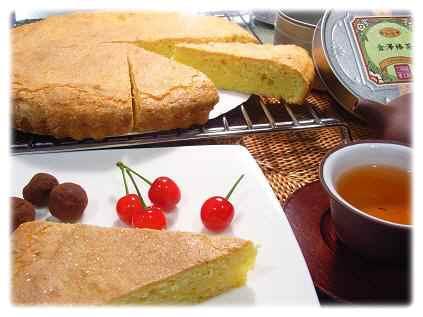 お菓子と棒茶とさくらんぼ1