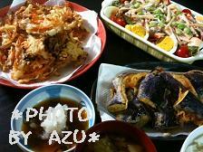 ナスの天ぷら・かき揚げ・白菜のお味噌汁・オリジナルサラダ