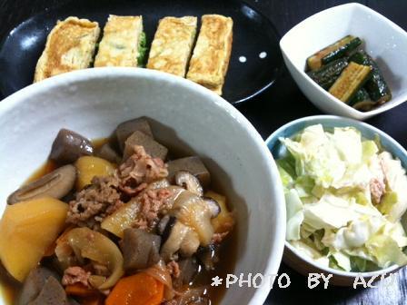 肉じゃが・ネギ卵焼き・胡瓜の煮物・サラダ