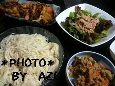 卯の花・素麺・かき揚げ・サラダ