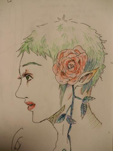緑のショートヘア