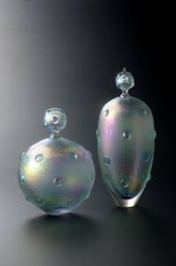 銀ドット虹彩花器
