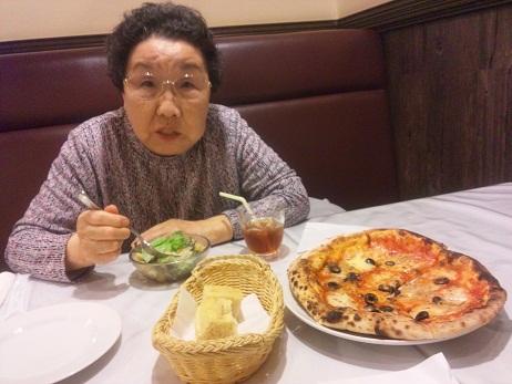 念願のピザ