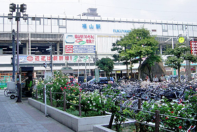 福山駅前の薔薇
