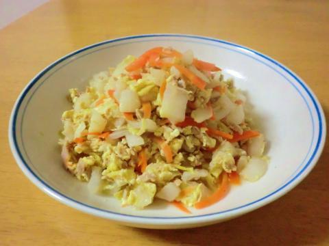 白菜のツナ卵炒め