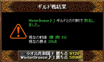 Gv VS WinterBreeze♪_I 様 結果