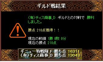ギニュー特戦隊_F VS (有)チィス商事_D 様 結果