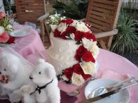 Wケーキ赤薔薇
