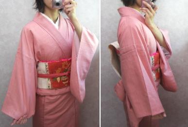 ピンクの紬 単