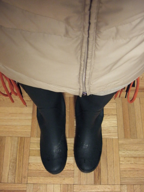 going to office in rain boots