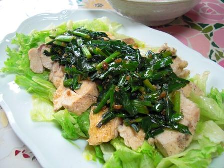 蒸し鶏ニラ生姜