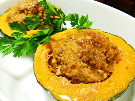 シリコンスチーマーでかぼちゃの肉詰め