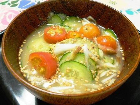 夏野菜で冷汁