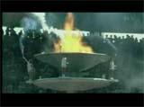 オリンピックで燃えた鳩