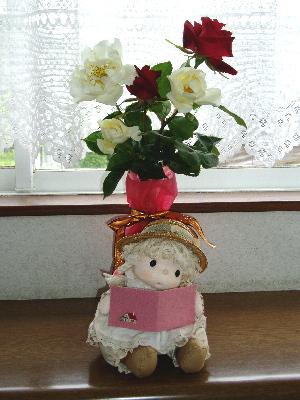 バラ(真紅と白)