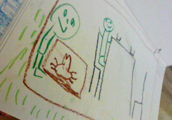 2007.7.29オオクワガタを世話するパパの絵