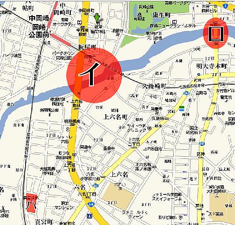 事件が起きたスポットの位置関係@GoogleMaps