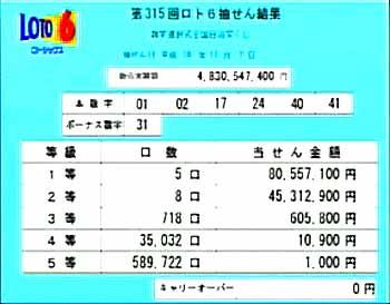 第315回(2006年11月2日)ロト6抽選結果・当選口数一覧/(C)宝くじドリームステーション