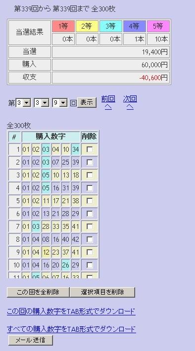 第339回(2007年04月19日)ロト6(LOTO6)抽選結果/LOTOSKYによる当選照合画像
