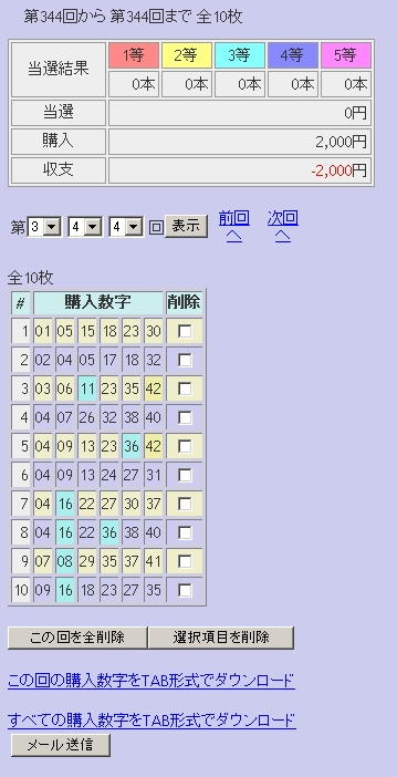 第344回(2007年05月24日)ロト6(LOTO6)抽選結果/LOTOSKYによる当選照合画像