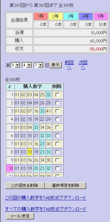 第347回(2007年06月14日)ロト6(LOTO6)抽選結果/LOTOSKYによる当選照合画像