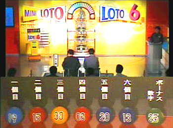 第349回(2007年06月28日)ロト6(LOTO6)抽選結果・出目/(C)宝くじドリームステーション