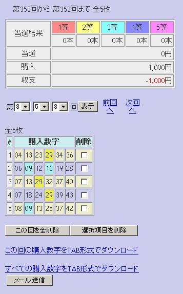 第353回(2007年07月026日)ロト6(LOTO6)抽選結果/LOTOSKYによる当選照合画像