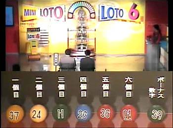 第355回(2007年08月09日)ロト6(LOTO6)抽選結果・出目/(C)宝くじドリームステーション