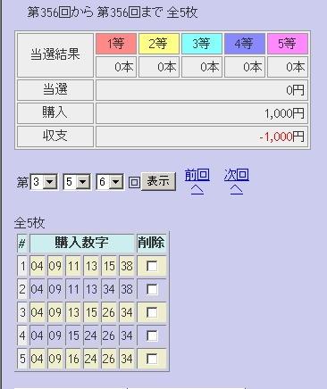 第356回(2007年08月16日)ロト6(LOTO6)抽選結果/LOTOSKYによる当選照合画像