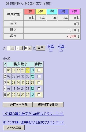第358回(2007年08月30日)ロト6(LOTO6)抽選結果/LOTOSKYによる当選照合画像