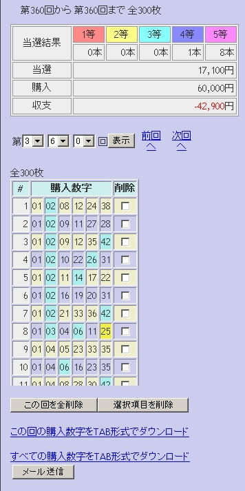 第360回(2007年09月13日)ロト6(LOTO6)抽選結果/LOTOSKYによる当選照合画像