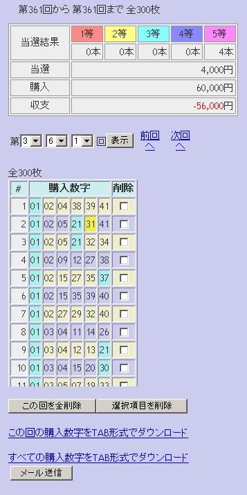 第361回(2007年09月20日)ロト6(LOTO6)抽選結果/LOTOSKYによる当選照合画像