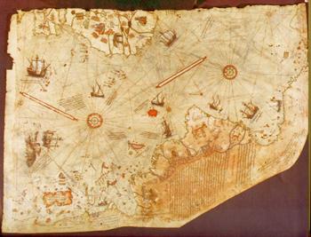 ピリ・レイスの世界地図。画像をクリックすると、『Il Forum di Marcopolo - Piri-reis』という海外ページにジャンプして、大きな画像を見ることができます。