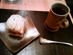 和栗のモンブラン&ほうじ茶
