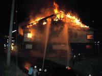 中学の体育館全焼