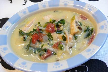 鮭のコーンクリームスープ
