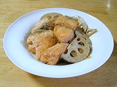 鮭とれんこんの揚げ煮