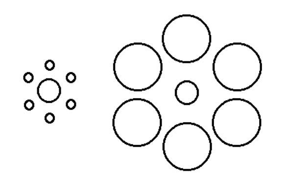 すべての講義 cm 長さ : 中心の円は同じ大きさですが ...