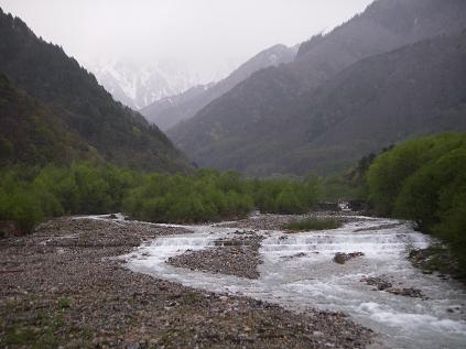 川、増水中