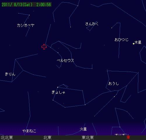 2011 8 13 ペルセウス座流星群星図0200