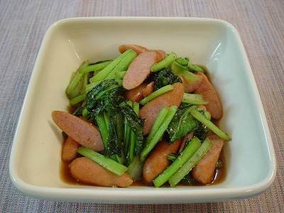 小松菜とウィンナー炒め