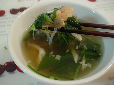 ほうれん草としめじの春雨スープ