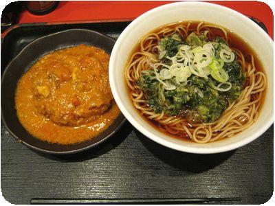 ツルムラサキ天そば+Kevin's 揚げたまご飯 with よもだカレー